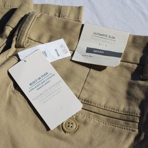 Mens Ultimate Slim Khaki Flat Front Chinos Pants